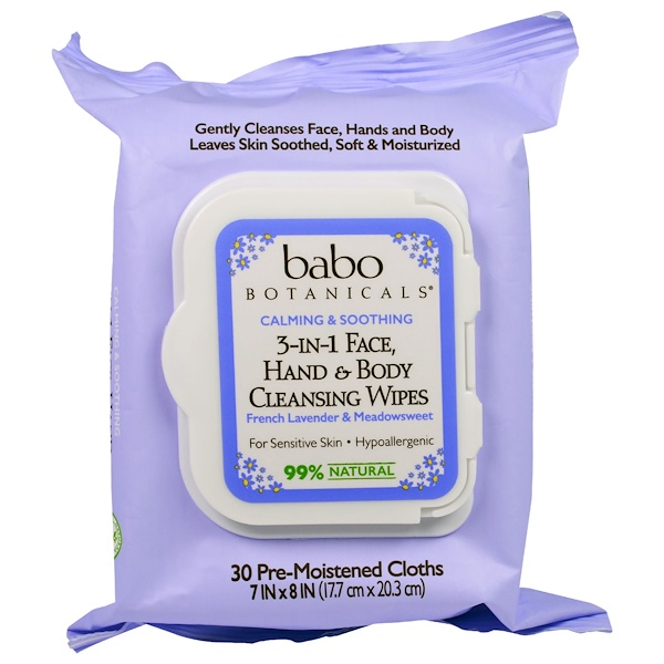Babo Botanicals, 3-In-1 Calming & Soothing  Face, Hand & Body Cleansing Wipes, French Lavender & Meadowseet, 30 Pre-Moistened Cloths (Discontinued Item)