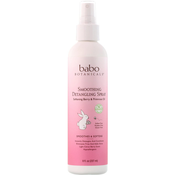Babo Botanicals, Smoothing Detangling Spray, Softening Berry & Primrose Oil, 8 fl oz (237 ml) (Discontinued Item)