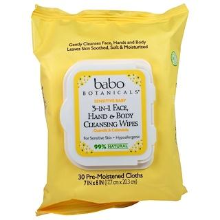 Babo Botanicals, 3合1敏感嬰兒面部、手和身體清潔濕巾,燕麥和金盞花,30片濕巾