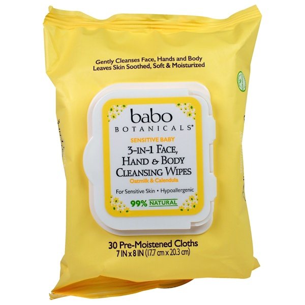 Babo Botanicals, 3-in-1 Sensitive Baby Face, Hand & Body Cleansing Wipes, Oatmilk & Calendula, 30 Pre-Moistened Cloth (Discontinued Item)