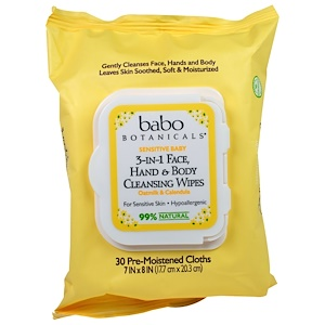 Бабо Ботаникалс, 3-in-1 Sensitive Baby Face, Hand & Body Cleansing Wipes, Oatmilk & Calendula, 30 Pre-Moistened Cloth отзывы