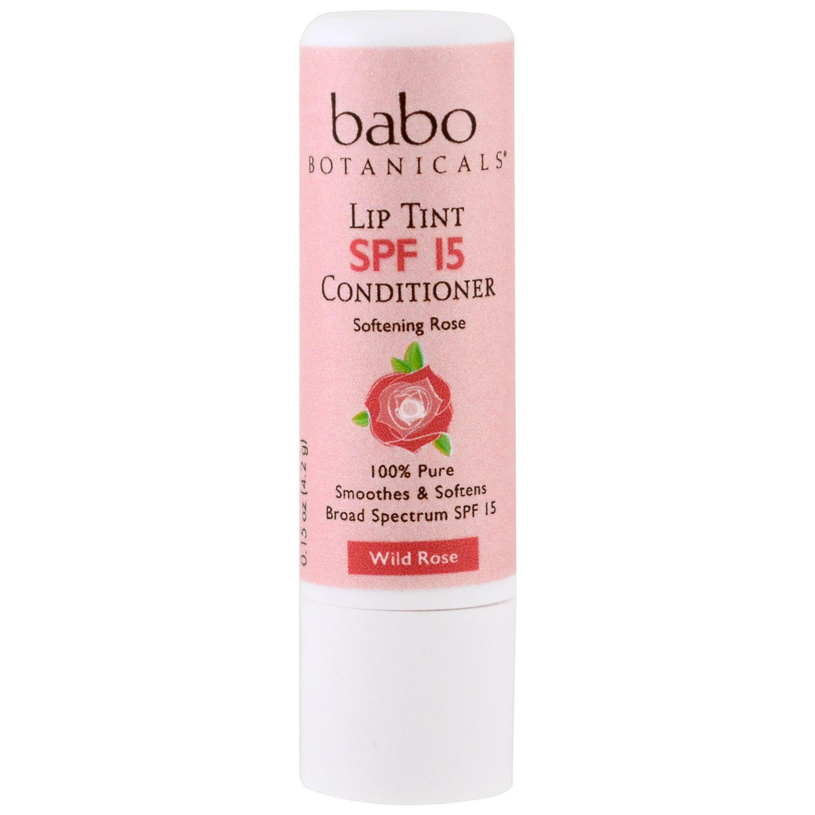 Babo Botanicals, Оттеночный бальзам для губ, SPF 15, дикая роза, 0,15 жидкой унции (4,2 г)
