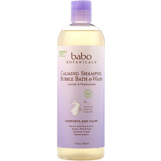 Babo Botanicals, 3 in 1: Calming Shampoo, Bubble Bath & Wash, Lavender & Meadowsweet, 15 fl oz (450 ml)