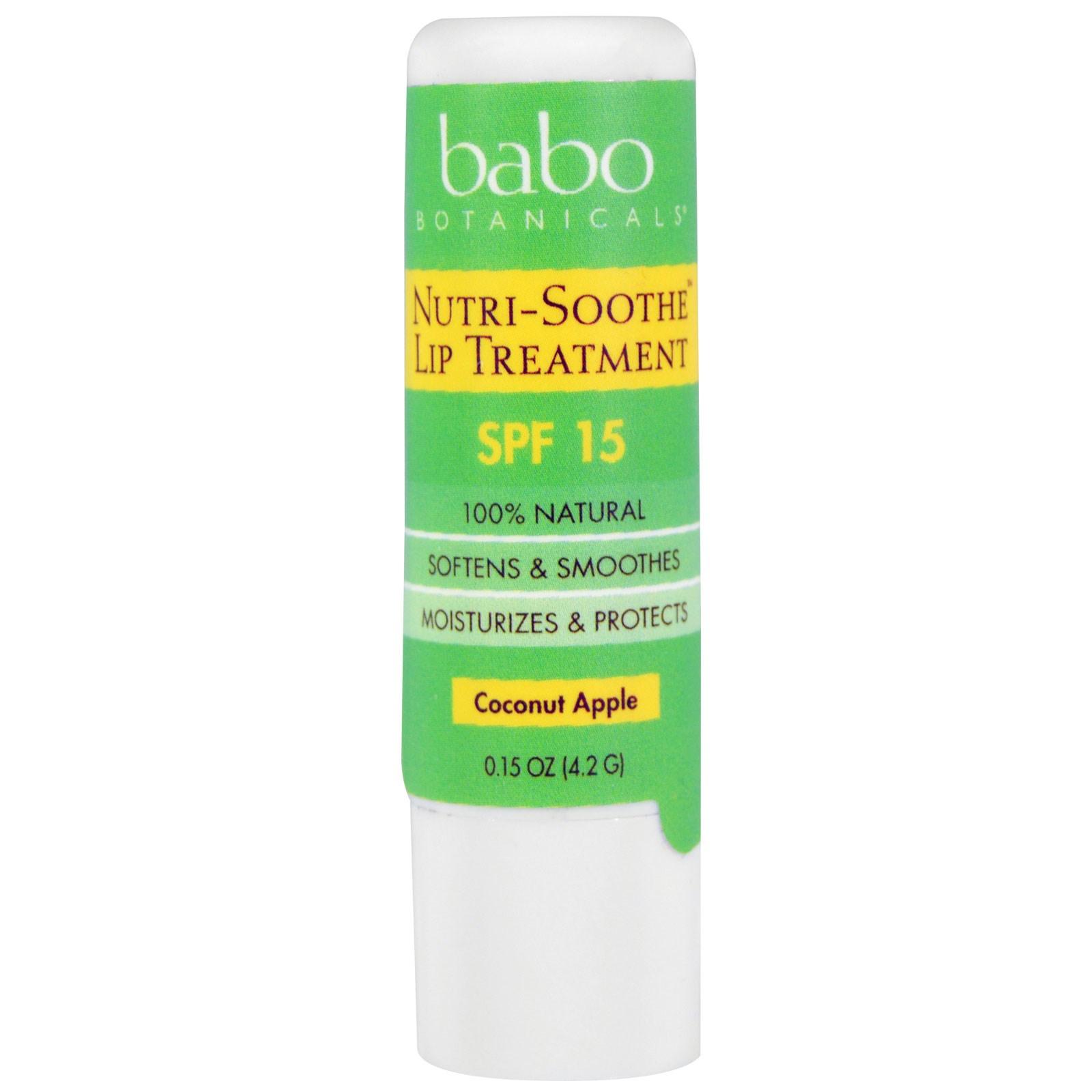 Babo Botanicals, Средство для губ Nutri-Soothe, фактор защиты SPF 15, кокос и яблоко, 0,15 унции (4,2 г)