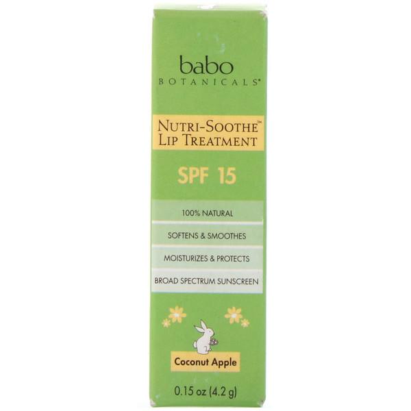 Babo Botanicals, Nutri-Soothe Lip Treatment, SPF 15, Coconut Apple, 0.15 oz (4.2 g) (Discontinued Item)