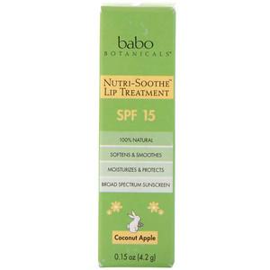 Бабо Ботаникалс, Nutri-Soothe Lip Treatment, SPF 15, Coconut Apple, 0.15 oz (4.2 g) отзывы