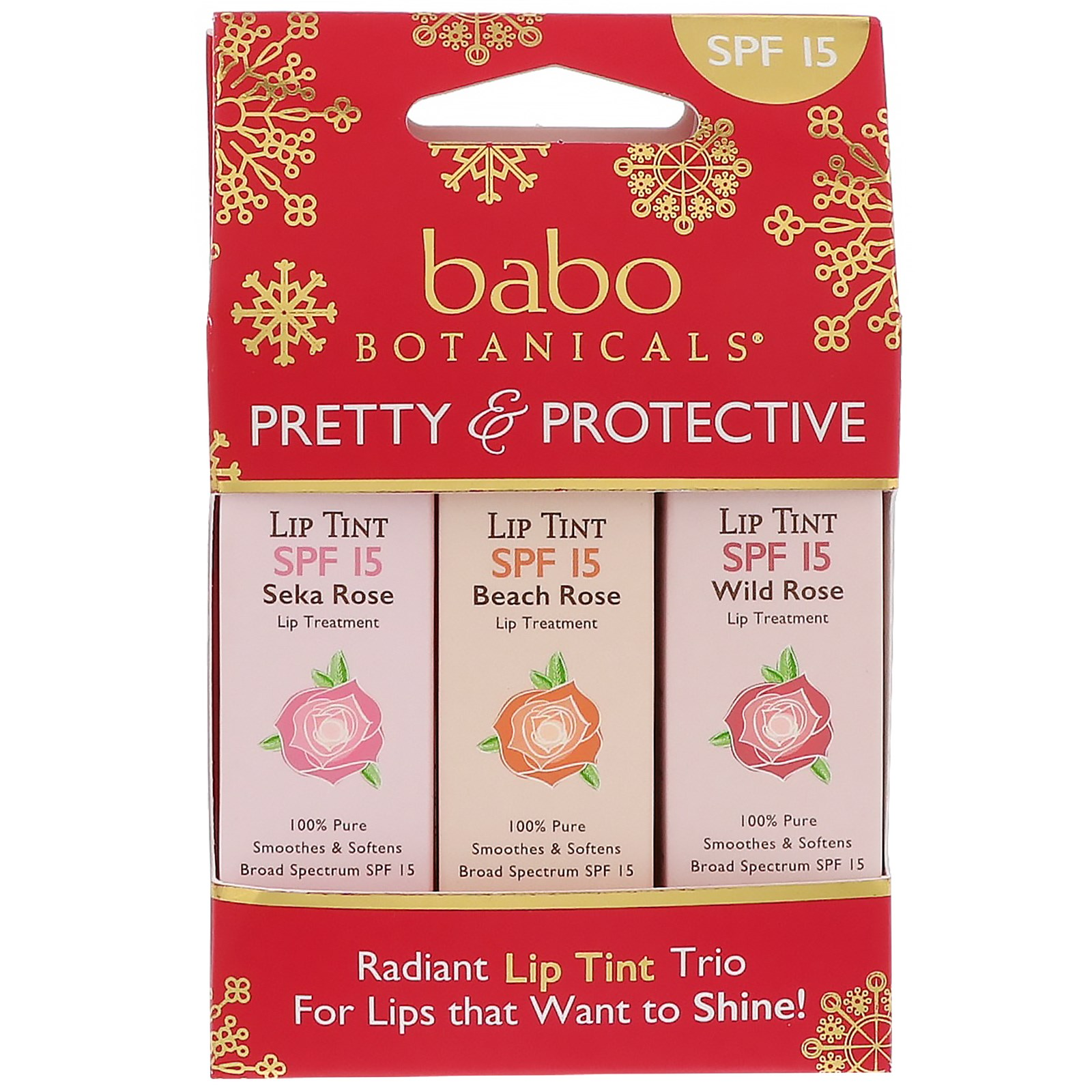 Babo Botanicals, Pretty & Protective, Lip Tint Conditioner, SPF 15, 3 Pack, 0.15 oz (Each)