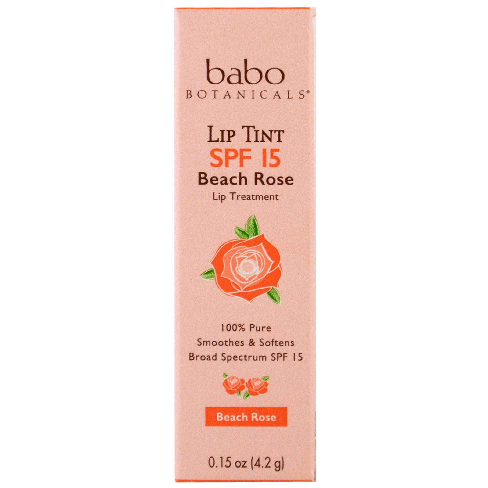 Babo Botanicals, Оттеночный бальзам для губ, SPF 15, пляжная роза, 0,15 жидкой унции (4,2 г)