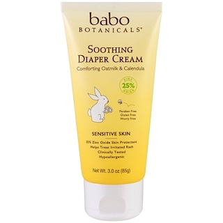 Babo Botanicals, Soothing Diaper Cream, Comforting Oatmilk & Calendula, 3.0 oz (85 g)