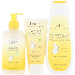 Babo Botanicals, New Born Gift嬰兒洗浴護膚套裝,燕麥牛奶和金盞花,3片