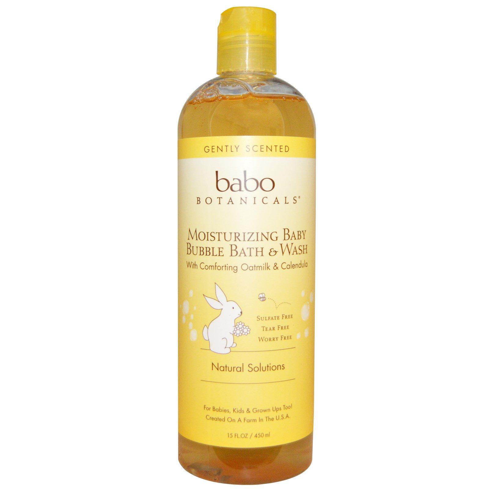 Babo Botanicals, Увлажняющая пена для ванн для малышей с успокаивающим овсяным молоком и календулой, 15 жидких унций (450 мл)