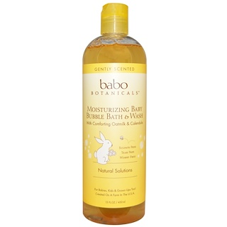 Babo Botanicals, モイスチャライジング・バブルバス&ウォッシュ、オートミルクカレンデュラ、15液体オンス(450ml)