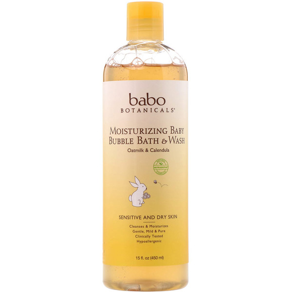 Babo Botanicals, Moisturizing Baby Bubble Bath & Wash, Oatmilk Calendula, 15 fl oz (450 ml)