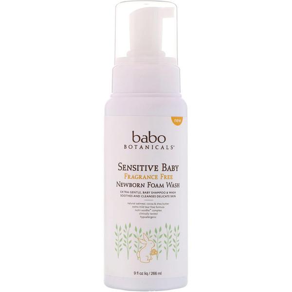 Babo Botanicals, Sensitive Baby, Newborn Foam Wash, Fragrance Free, 9 fl oz (266 ml)