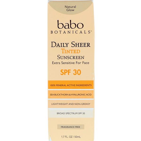 Babo Botanicals, Daily Sheer, Tinted Sunscreen, SPF 30, 1.7 fl oz (50 ml)