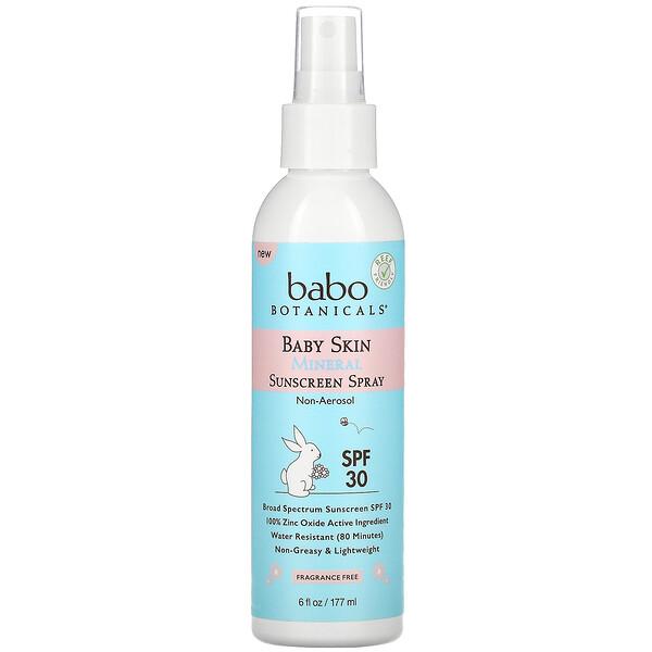 Baby Skin Mineral Sunscreen Spray, SPF 30, Fragrance Free, 6 fl oz (177 ml)