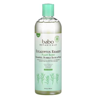 Babo Botanicals Eucalyptus Remedy, Plant Based 3-In-1 Shampoo, Bubble Bath & Wash, 15 fl oz (450 ml)