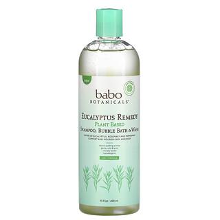 Babo Botanicals, Plant Based 3-In-1 Shampoo, Bubble Bath & Wash, Eucalyptus Remedy, 15 fl oz (450 ml)