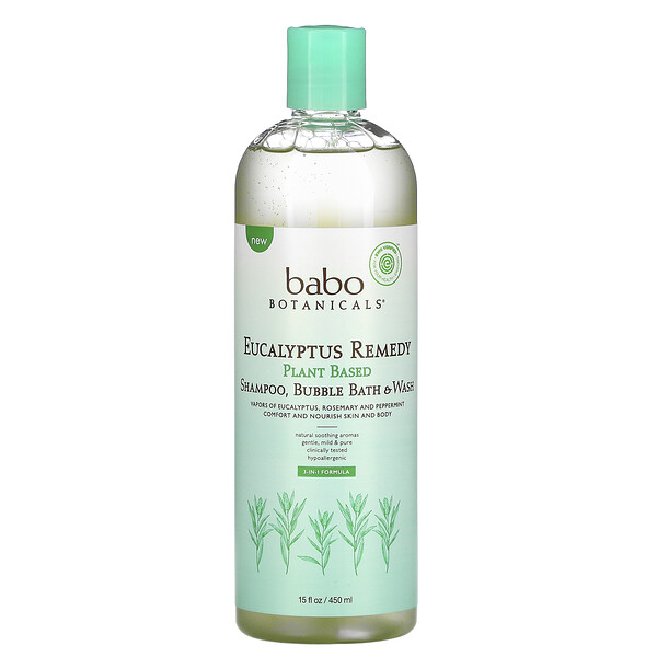Eucalyptus Remedy, Plant Based 3-In-1 Shampoo, Bubble Bath & Wash, 15 fl oz (450 ml)