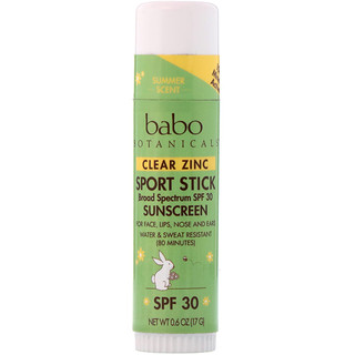 Babo Botanicals, Clear Zinc Sunscreen, Sport Stick, SPF 30, 0.6 oz (17 g)