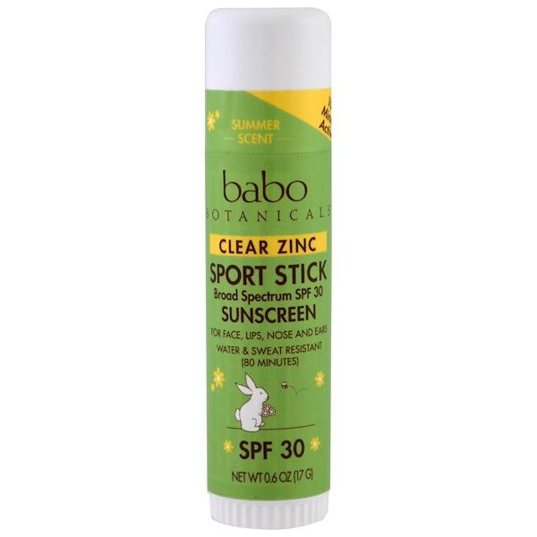 Babo Botanicals, 清透鋅防曬霜,運動防曬棒,SPF30,0、6盎司(17克)