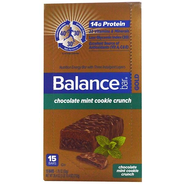 Balance Bar, Gold, Chocolate Mint Cookie Crunch, 15 Bars, 1.76 oz (50 g) Each (Discontinued Item)