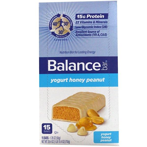 Balance Bar, Nutrition Bar, Yogurt Honey Peanut, 15 Bars, 1.76 oz (50 g) Each (Discontinued Item)