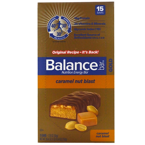 Balance Bar, Nutrition Bar, Caramel Nut Blast, 15 Bars, 1.76 oz (50 g) Each (Discontinued Item)