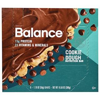 Balance Bar, Nutrition Bar, Cookie Dough, 6 Bars, 1.76 oz (50 g) Each