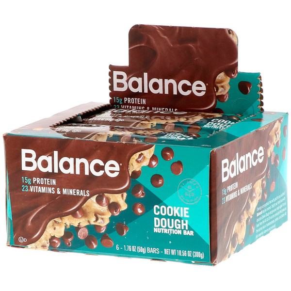 Nutrition Bar, Cookie Dough, 6 Bars, 1.76 oz (50 g) Each