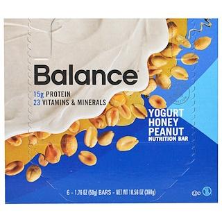 Balance Bar, 栄養補給バー、ヨーグルト蜂蜜ピーナッツ、6本、各50g