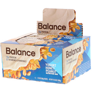 Balance Bar, Nutrition Bar, Yogurt Honey Peanut, 6 Bars, 1.76 oz (50 g) Each