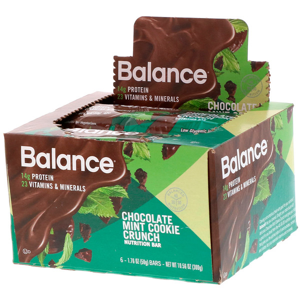 Nutrition Bar, Chocolate Mint Cookie Crunch, 6 Bars, 1.76 oz (50 g) Each