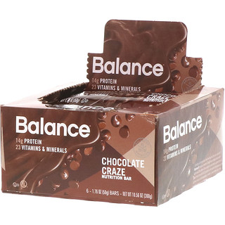 Balance Bar, Nutrition Bar, Chocolate Craze, 6 Bars, 1.76 oz (50 g) Each