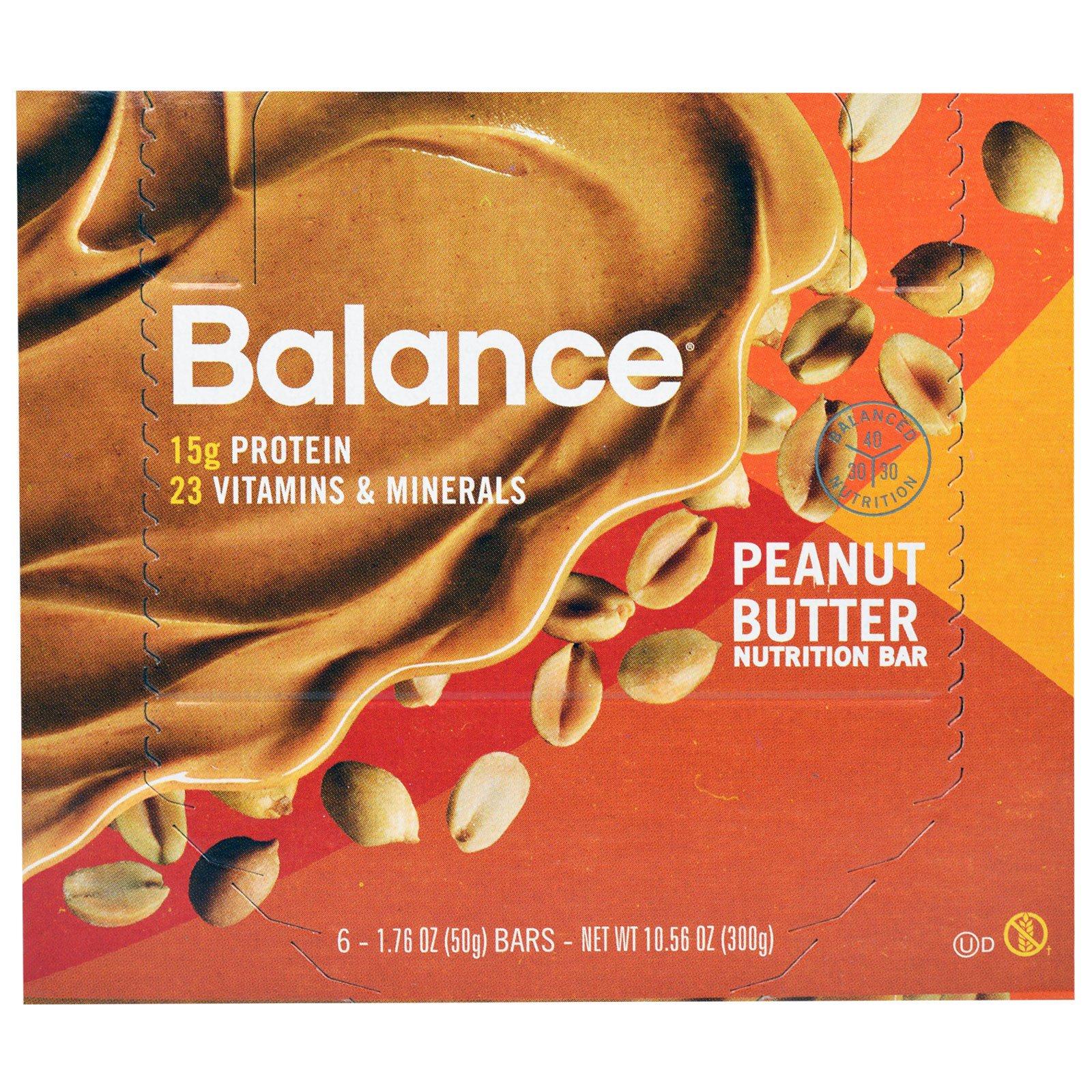 Balance Bar, Батончик Здорового Питания, Арахисовое масло, 6 батончиков, 1,76 унции (50 г) каждый