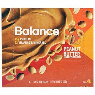 Balance Bar, Nutrition Bar, Peanut Butter, 6 Bars, 1.76 oz (50 g) Each