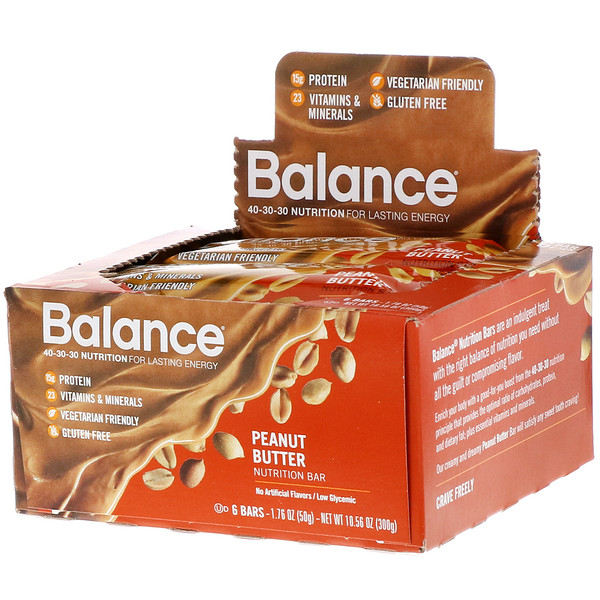 Balance Bar, Nutrition Bar, Peanut Butter, 6 Bars, 1.76 oz (50 g) Each (Discontinued Item)