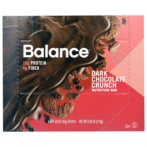 Balance Bar, Nutrition Bar, Dark Chocolate Crunch, 6 Bars, 1.58 oz (45 g) (Discontinued Item)