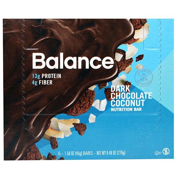 Balance Bar, Батончик Здорового Питания, Темный Шоколад с Кокосом, 6 батончиков, 1,58 унции (45 г) каждый (Discontinued Item)
