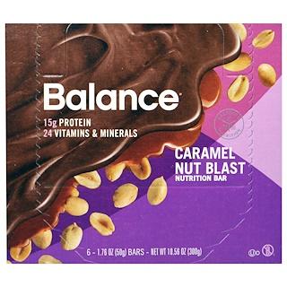 Balance Bar, 栄養補給バー、キャラメルナッツ味、6本、各50g
