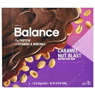 Balance Bar, Nutrition Bar, Caramel Nut Blast, 6 Bars, 1.76 oz (50 g) Each