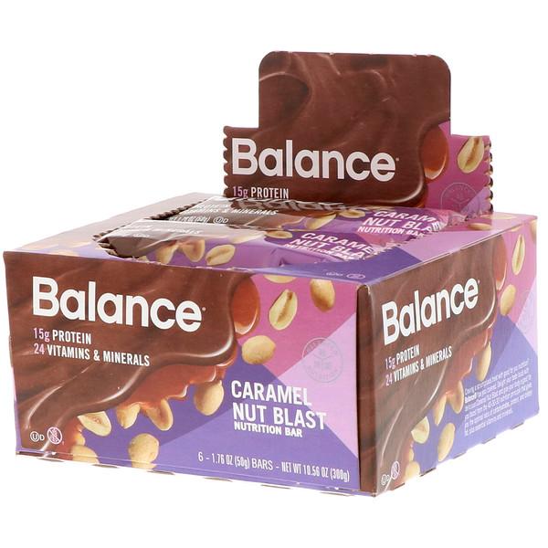 Balance Bar, Nutrition Bar, Caramel Nut Blast, 6 Bars, 1.76 oz (50 g) Each (Discontinued Item)
