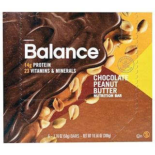 Balance Bar, Nutrition Bar, Chocolate Peanut Butter, 6 Bars, 1.76 oz (50 g) Each