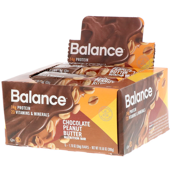 Balance Bar, Nutrition Bar, Chocolate Peanut Butter, 6 Bars, 1.76 oz (50 g) Each (Discontinued Item)