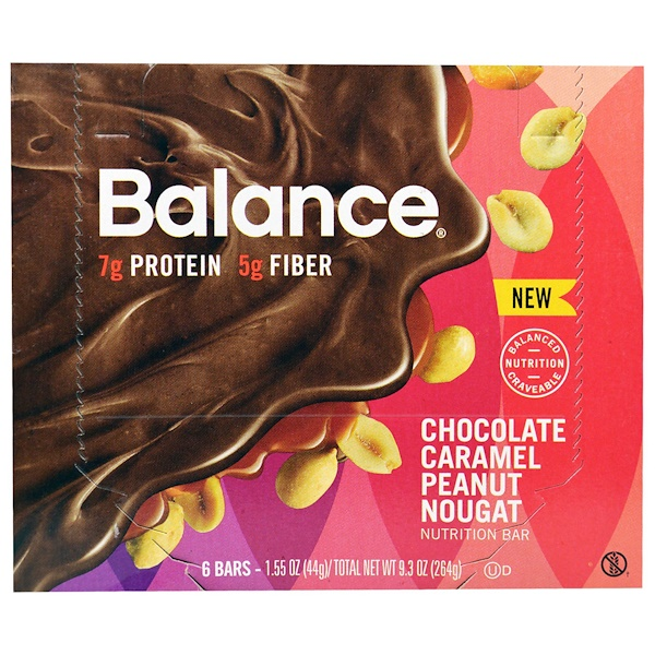 Balance Bar, Nutrition Bar, Chocolate Caramel Peanut Nougat, 6 Bars, 1.55 oz (44 g) Each (Discontinued Item)