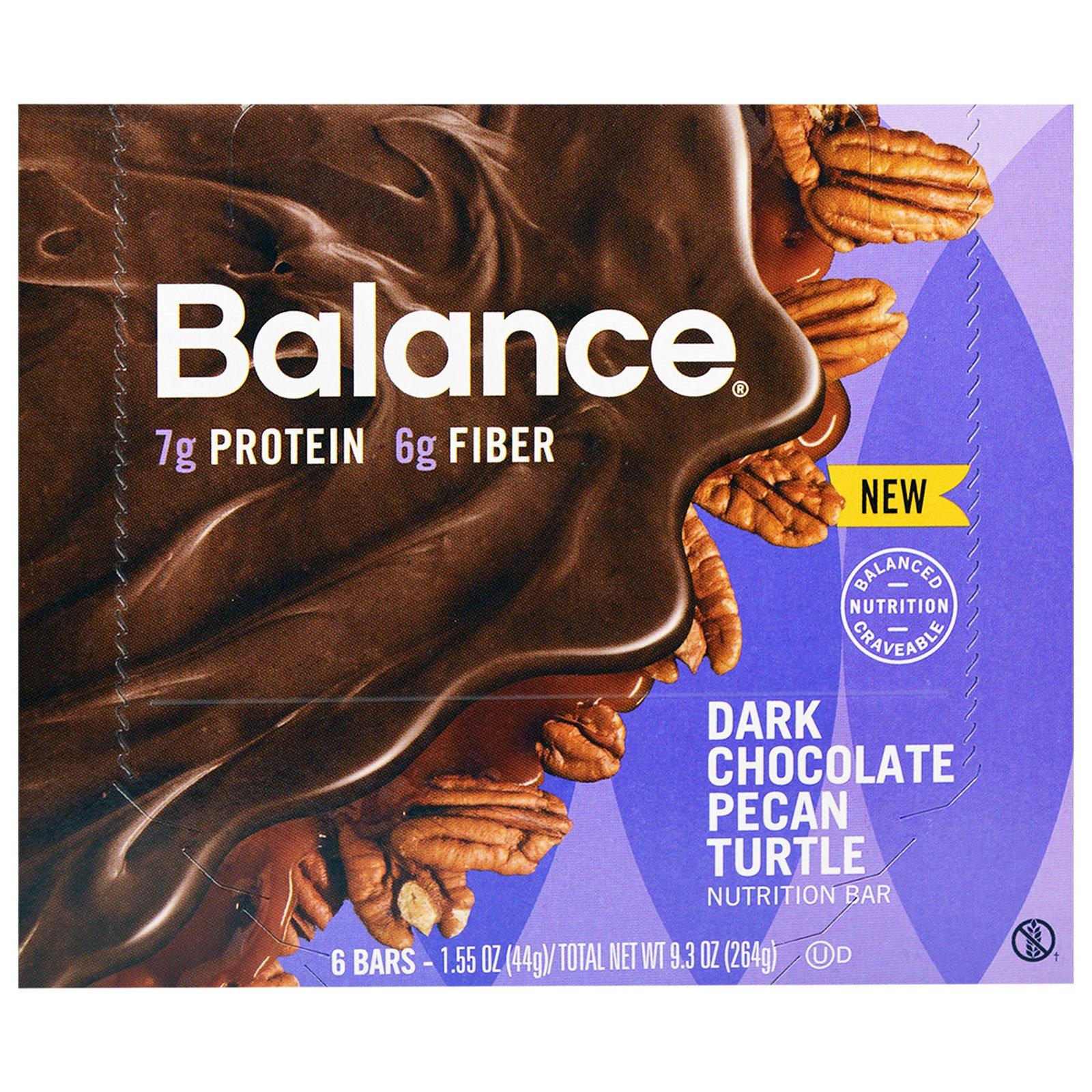 Balance Bar, Батончик Здорового Питания, Темный шоколад с Пеканом, 6 батончиков, 1,55 унции (44 г) каждый