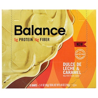 Balance Bar, Nutrition Bar, Dulce De Leche & Caramel, 6 Bars, 1.41 oz (40 g) Each