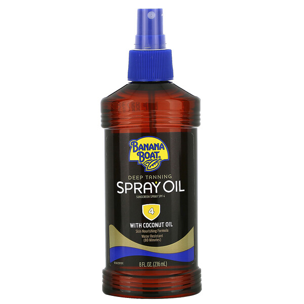 Deep Tanning Spray Oil with Coconut Oil, SPF 4, 8 fl oz (236 ml)