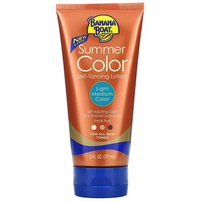 Banana Boat Summer Color Self Tanning Lotion, Light Medium Color, 6 fl oz (177 ml)