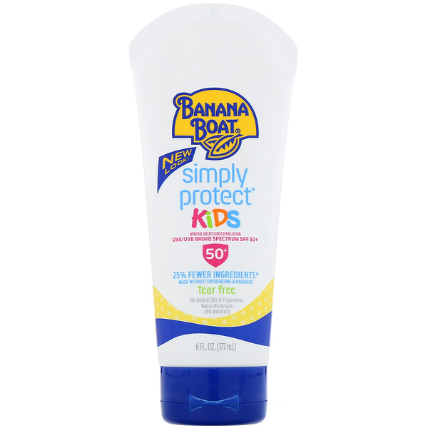 Banana Boat, Simply Protect Kids Sunscreen Lotion, SPF 50+, 6 oz (177 ml) (Discontinued Item)